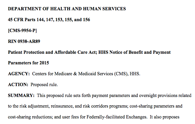 The HHS Notice for 2015